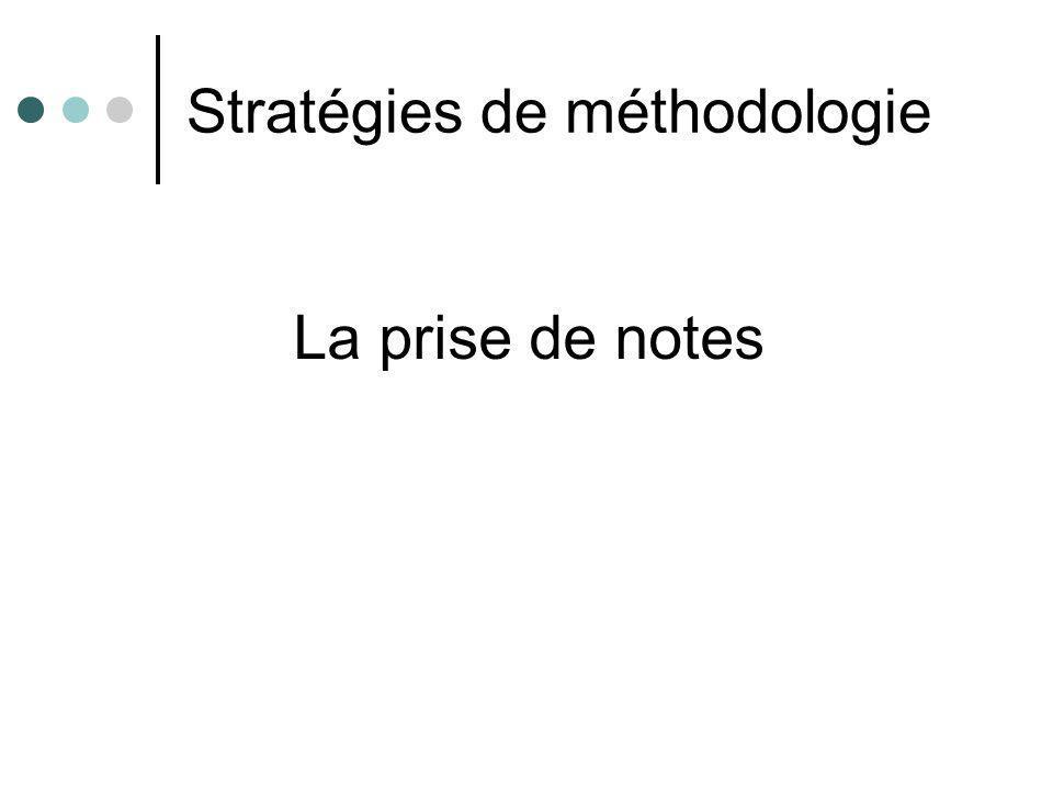 Stratégies de méthodologie