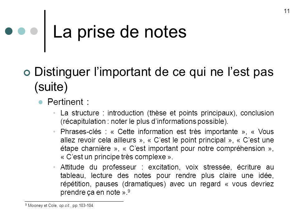 La prise de notes 11. Distinguer l'important de ce qui ne l'est pas (suite) Pertinent :