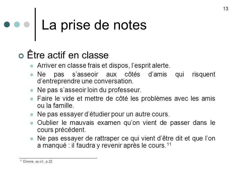 La prise de notes Être actif en classe