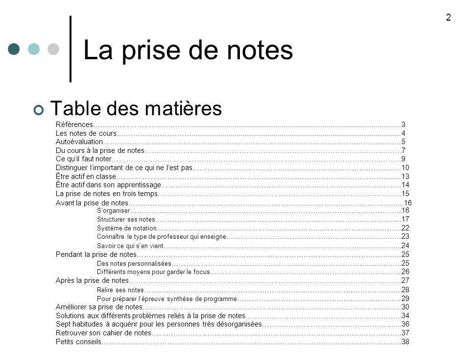 La prise de notes Table des matières 2