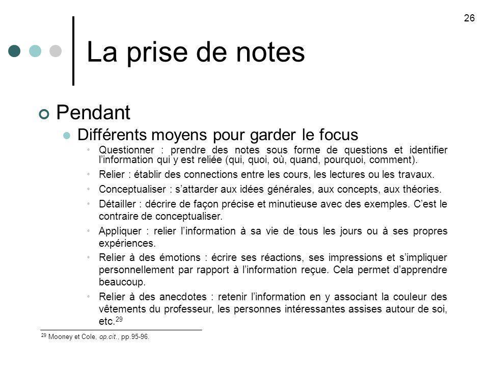 La prise de notes Pendant Différents moyens pour garder le focus