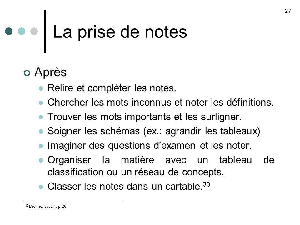 La prise de notes Après Relire et compléter les notes.