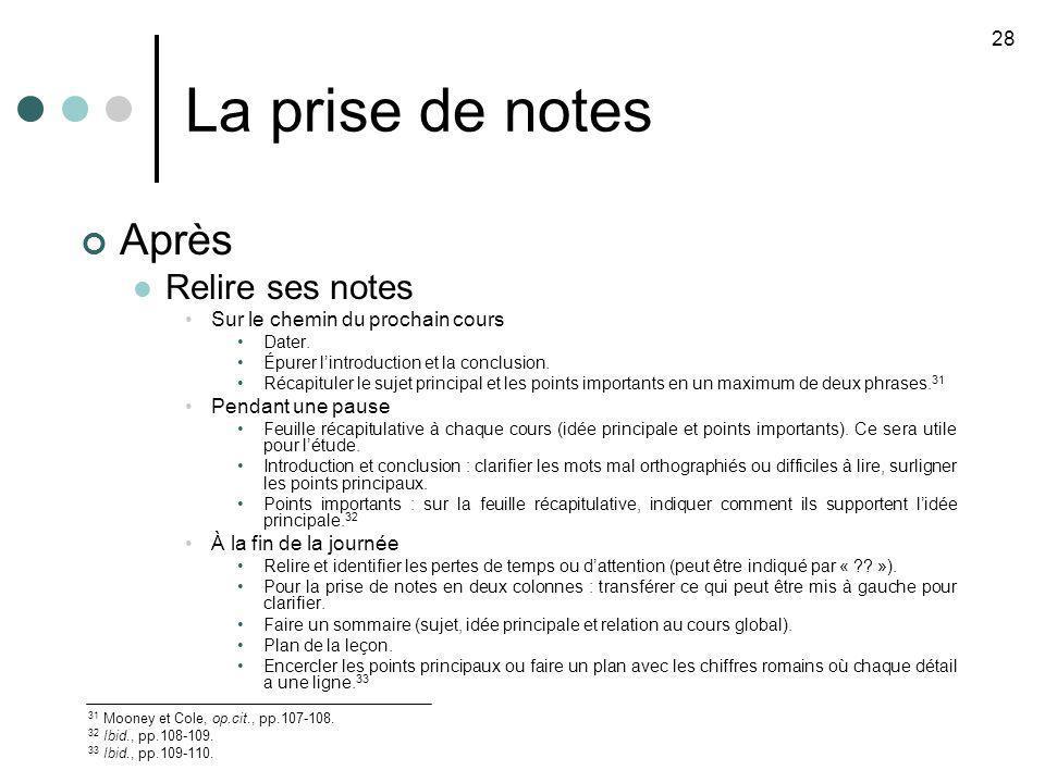 La prise de notes Après Relire ses notes 28