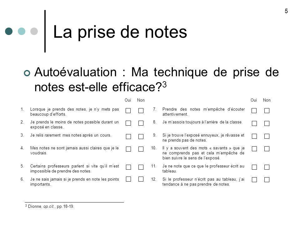 La prise de notes 5. Autoévaluation : Ma technique de prise de notes est-elle efficace 3. Oui. Non.