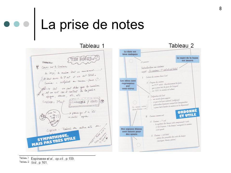 La prise de notes Tableau 1 Tableau 2 8