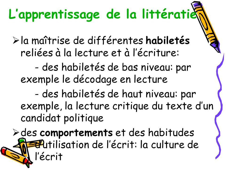 L'apprentissage de la littératie