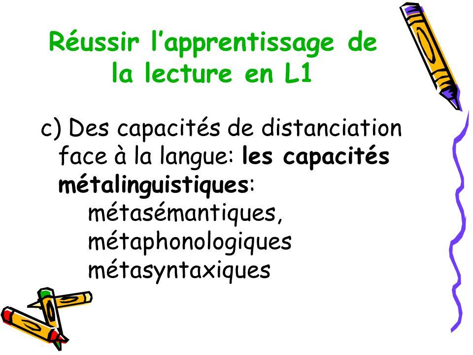 Réussir l'apprentissage de la lecture en L1