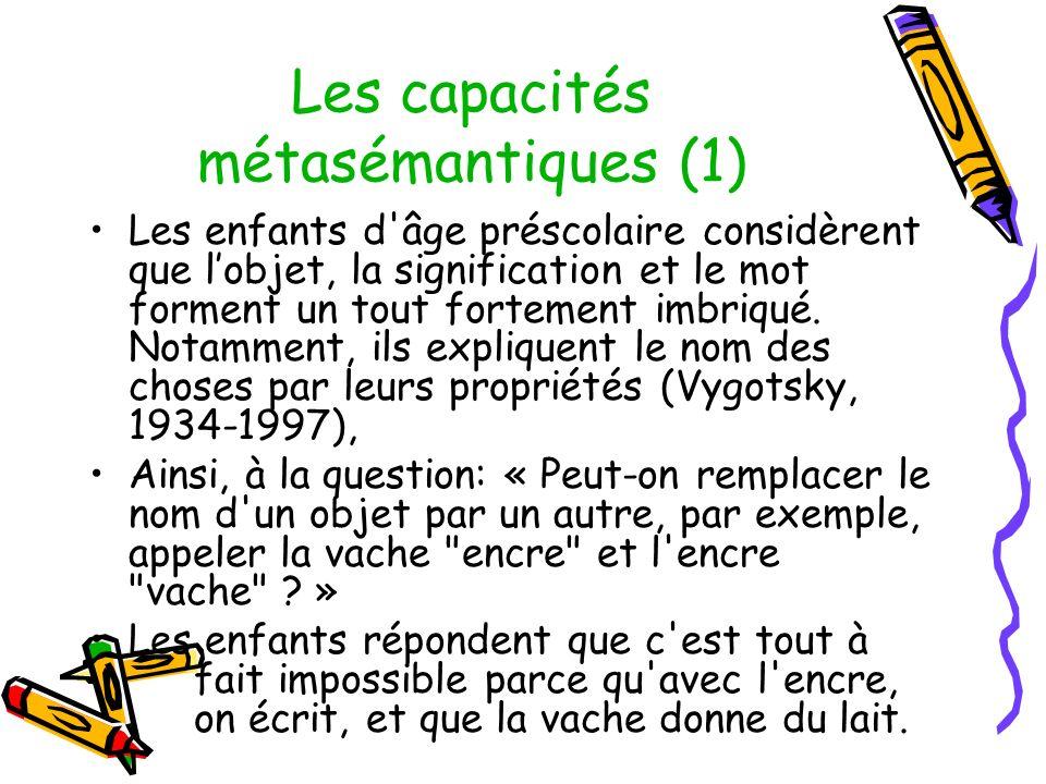Les capacités métasémantiques (1)