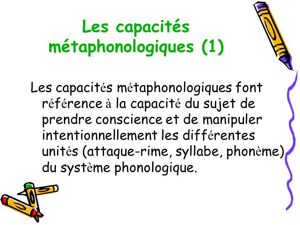 Les capacités métaphonologiques (1)