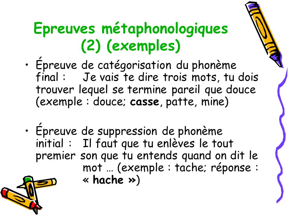 Epreuves métaphonologiques (2) (exemples)