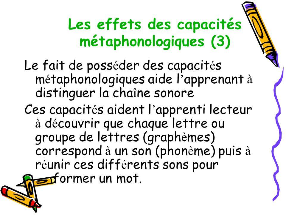 Les effets des capacités métaphonologiques (3)