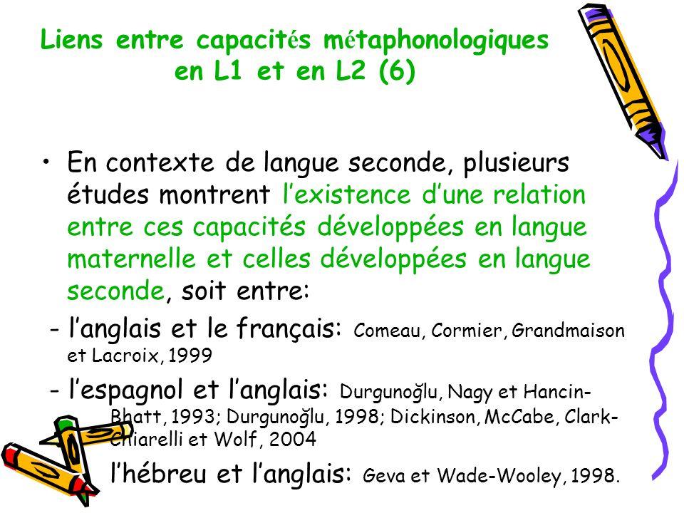 Liens entre capacités métaphonologiques en L1 et en L2 (6)
