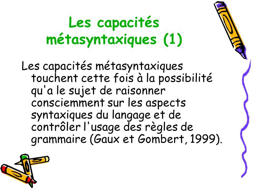 Les capacités métasyntaxiques (1)