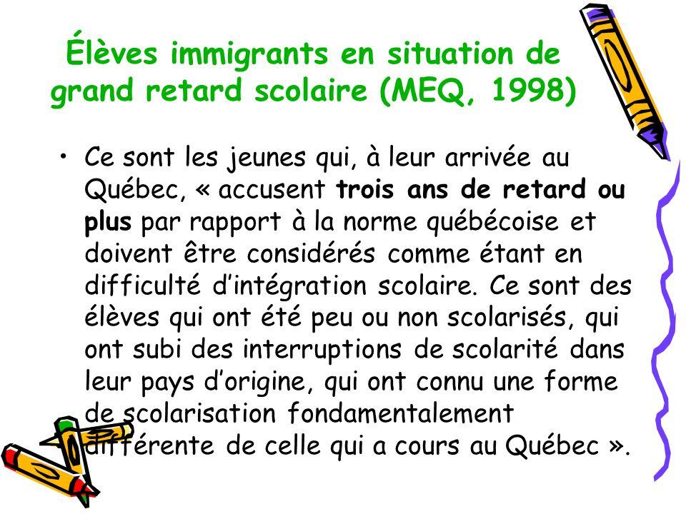Élèves immigrants en situation de grand retard scolaire (MEQ, 1998)