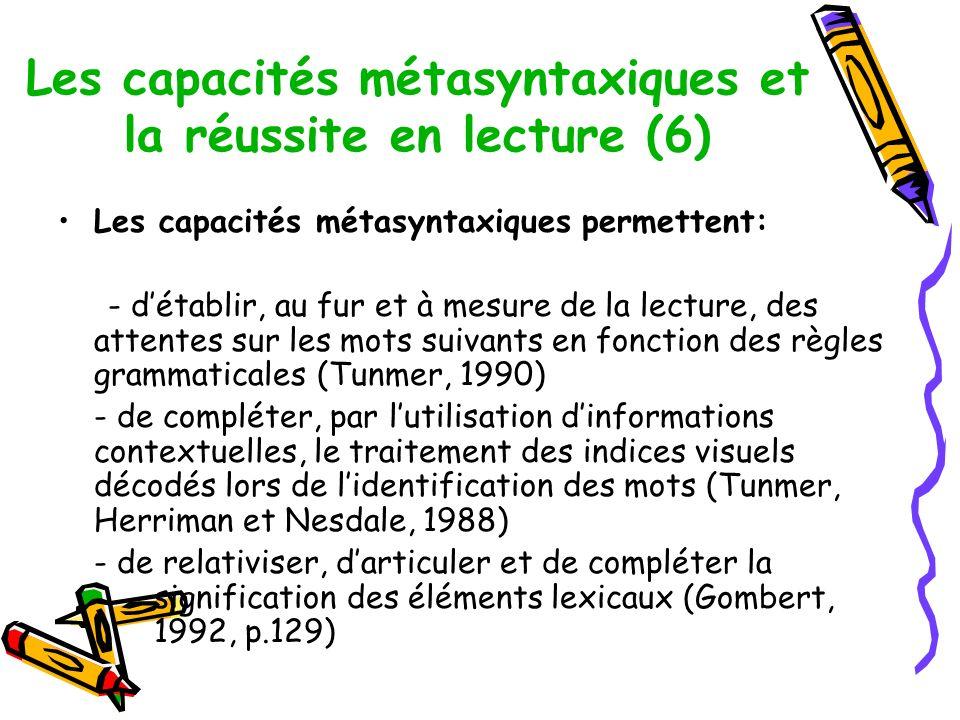 Les capacités métasyntaxiques et la réussite en lecture (6)