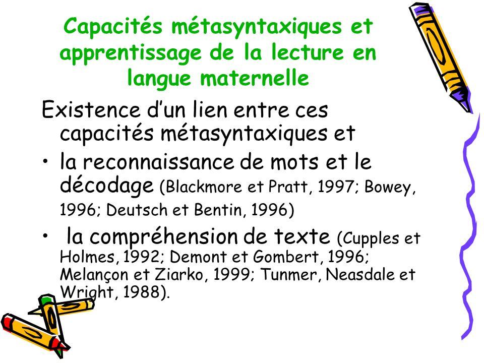 Capacités métasyntaxiques et apprentissage de la lecture en langue maternelle