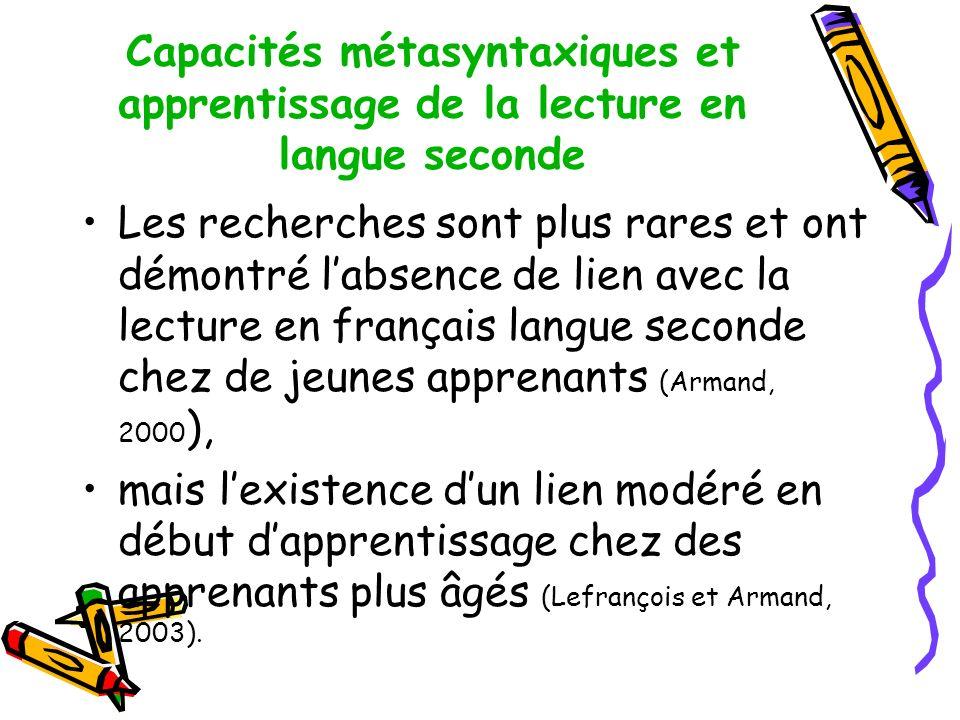 Capacités métasyntaxiques et apprentissage de la lecture en langue seconde