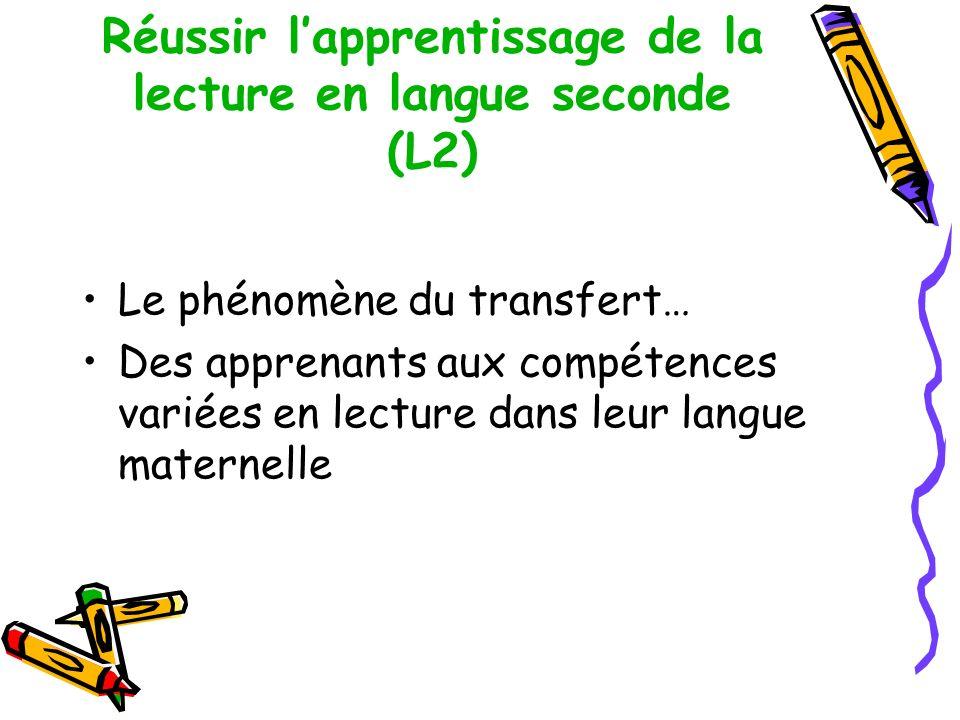 Réussir l'apprentissage de la lecture en langue seconde (L2)