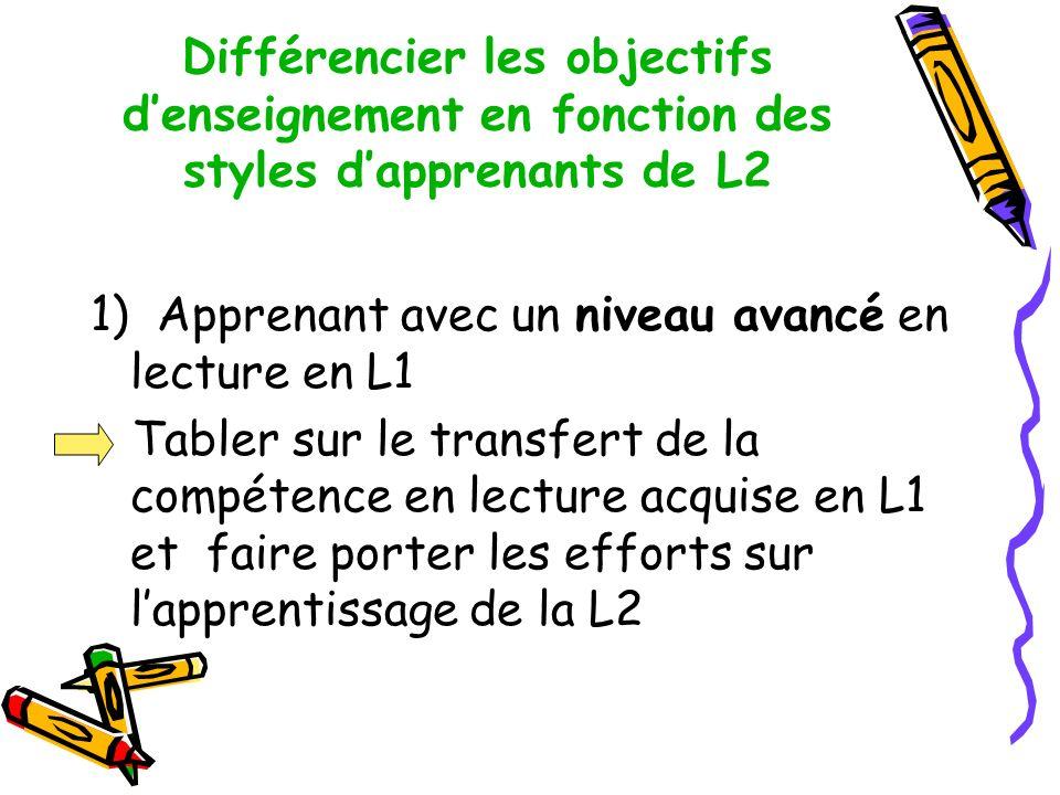 Différencier les objectifs d'enseignement en fonction des styles d'apprenants de L2