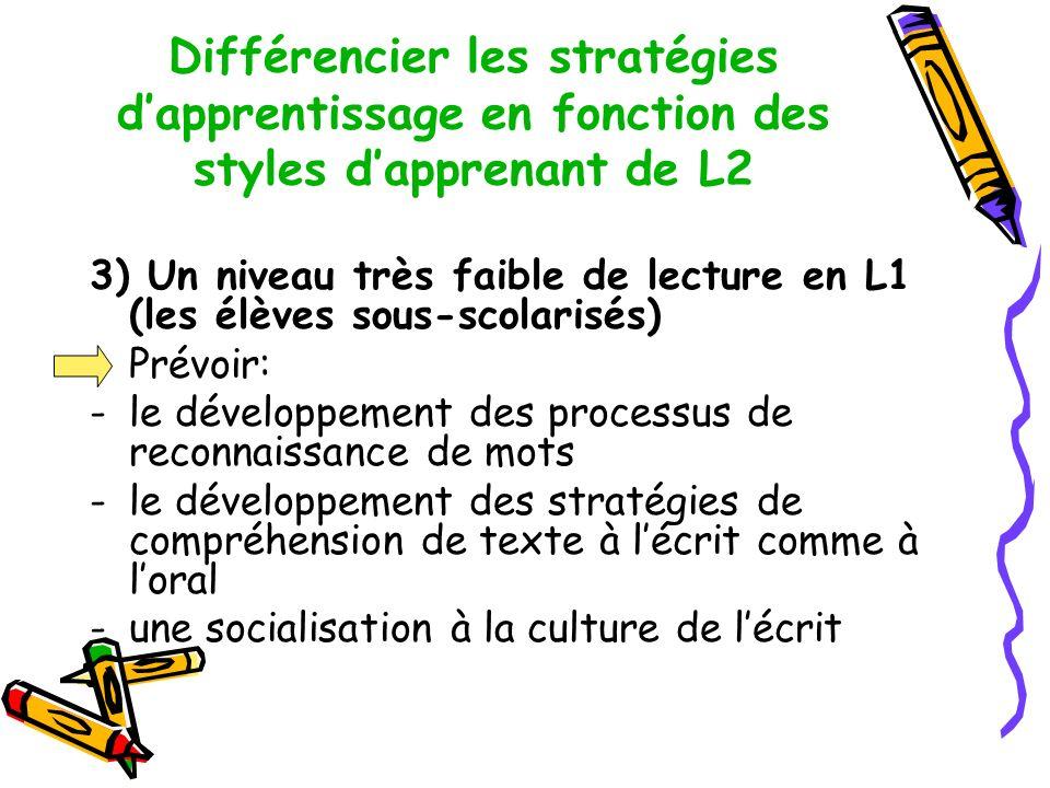 Différencier les stratégies d'apprentissage en fonction des styles d'apprenant de L2