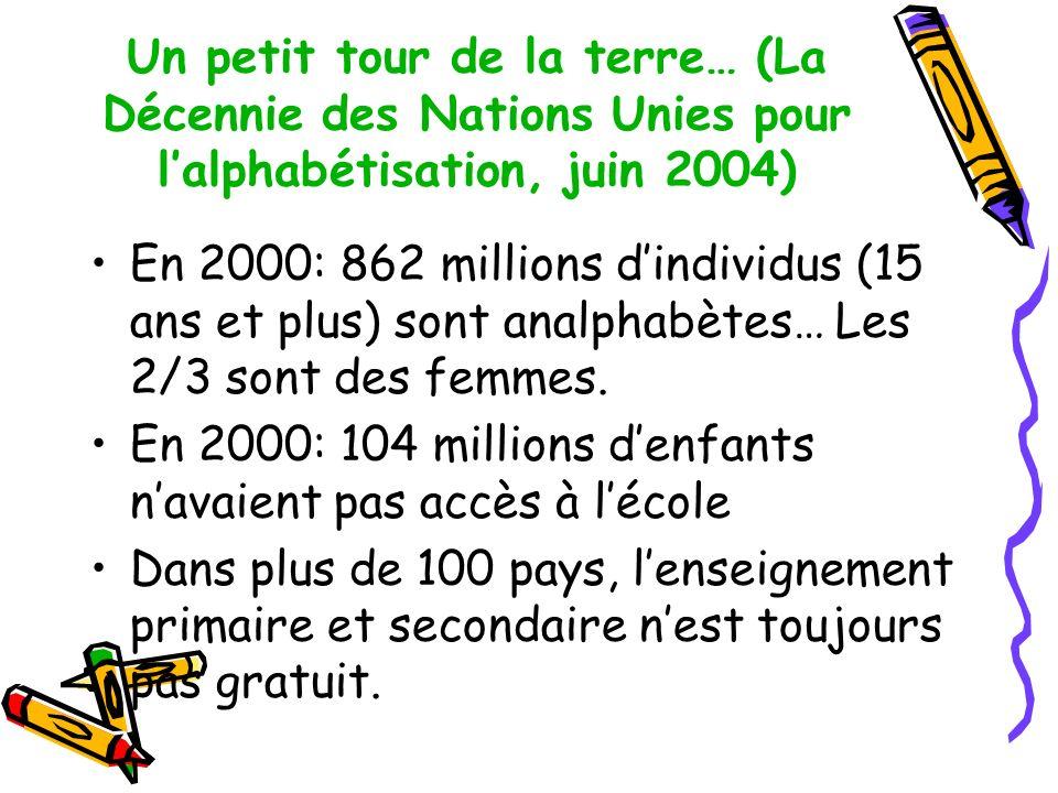 Un petit tour de la terre… (La Décennie des Nations Unies pour l'alphabétisation, juin 2004)