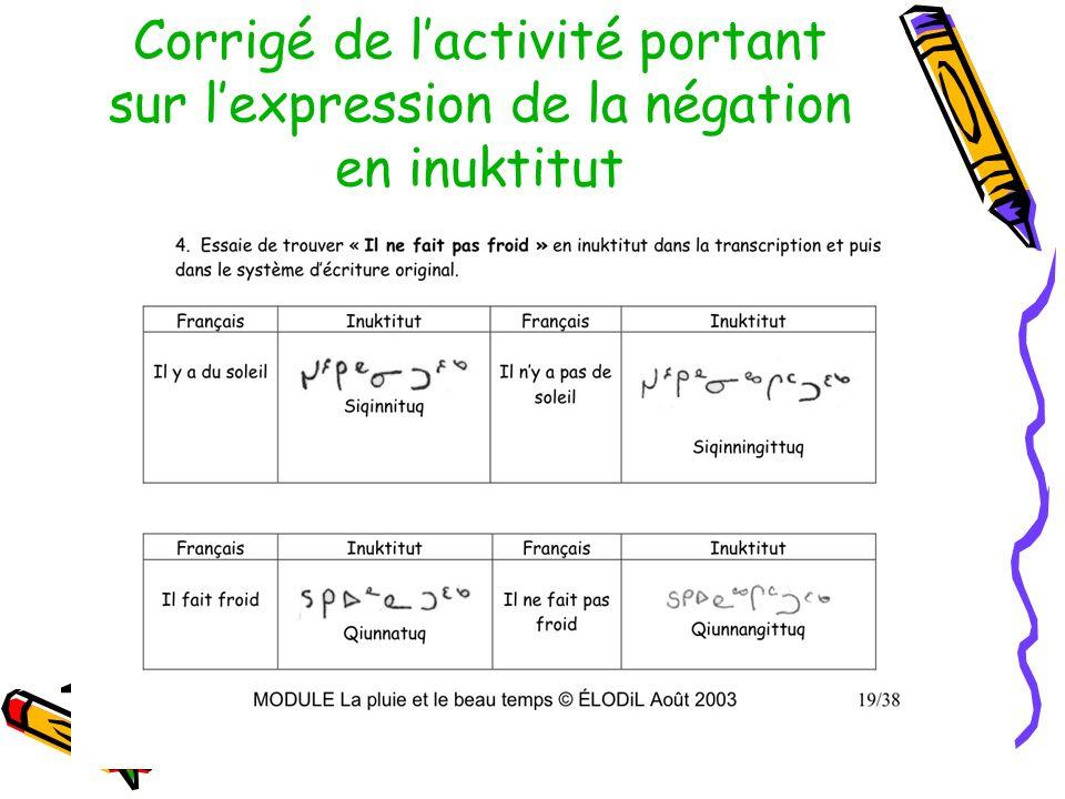 Corrigé de l'activité portant sur l'expression de la négation en inuktitut