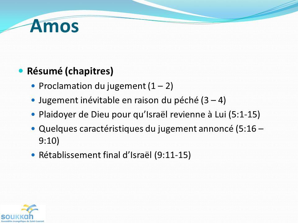 Amos Résumé (chapitres) Proclamation du jugement (1 – 2)
