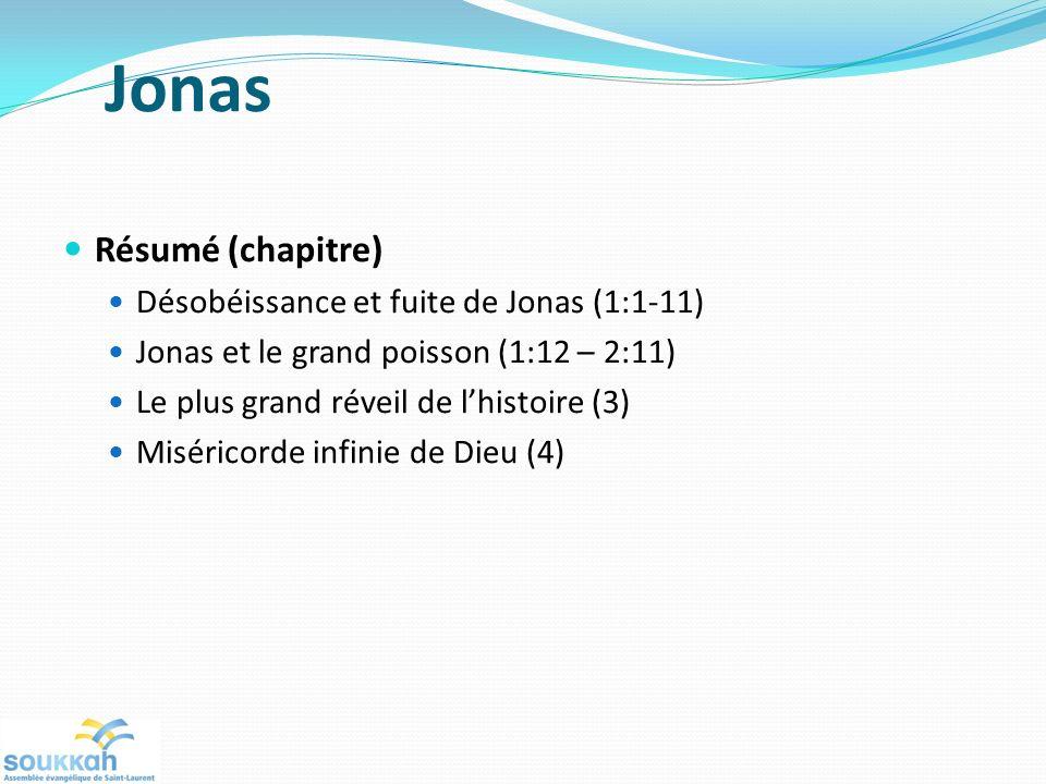Jonas Résumé (chapitre) Désobéissance et fuite de Jonas (1:1-11)