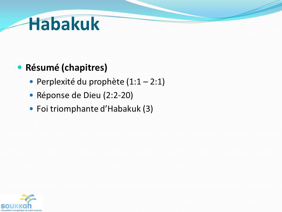 Habakuk Résumé (chapitres) Perplexité du prophète (1:1 – 2:1)