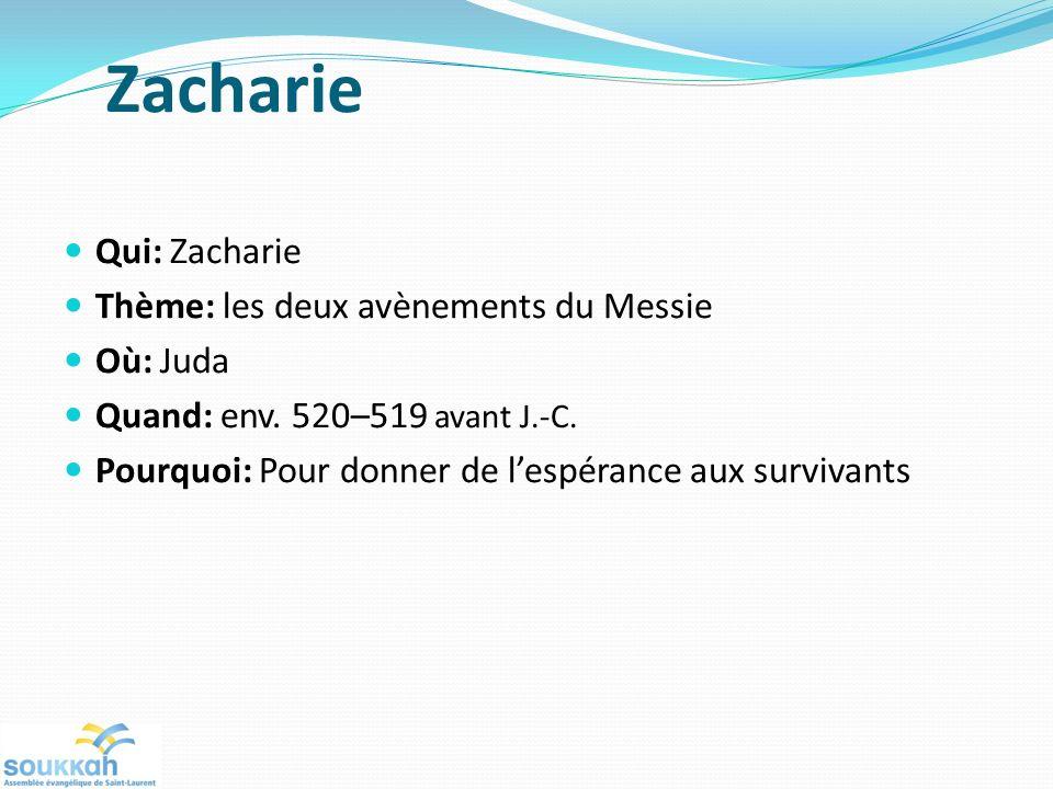 Zacharie Qui: Zacharie Thème: les deux avènements du Messie Où: Juda