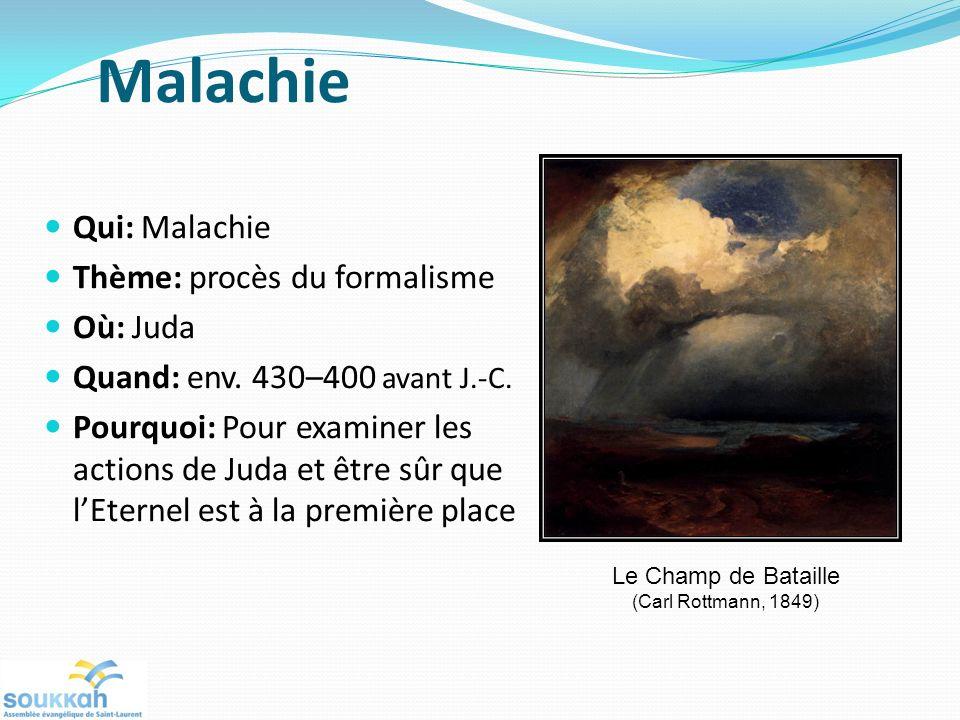 Malachie Qui: Malachie Thème: procès du formalisme Où: Juda