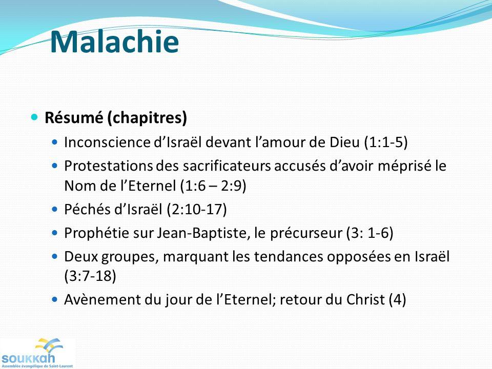 Malachie Résumé (chapitres)