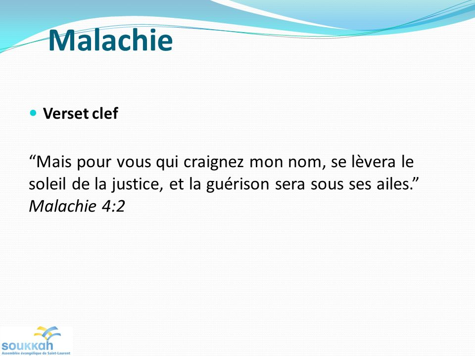 Malachie Verset clef.