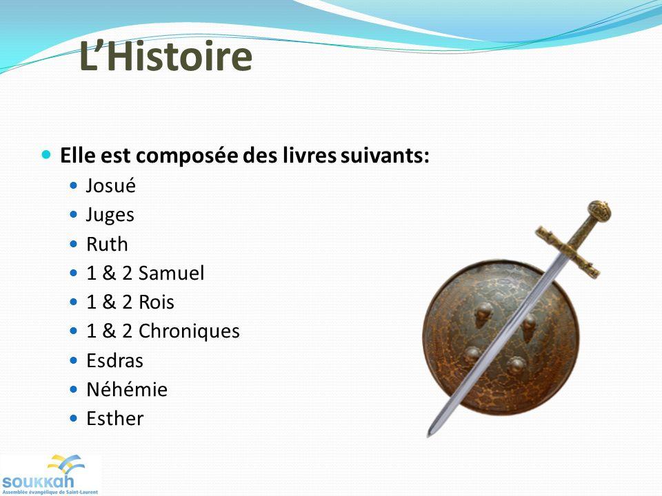 L'Histoire Elle est composée des livres suivants: Josué Juges Ruth