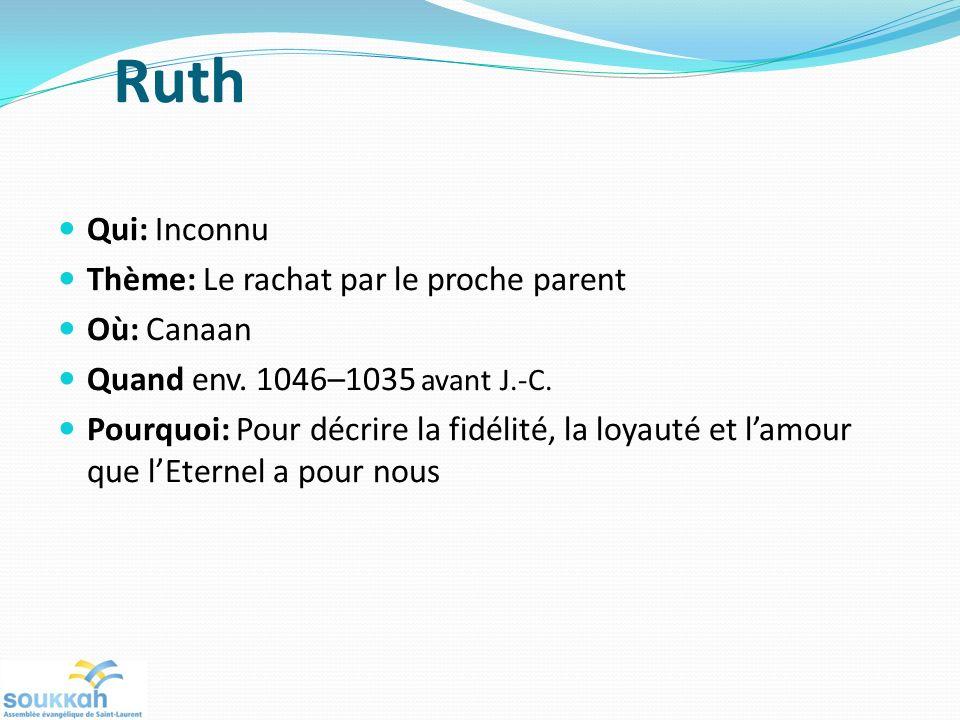 Ruth Qui: Inconnu Thème: Le rachat par le proche parent Où: Canaan