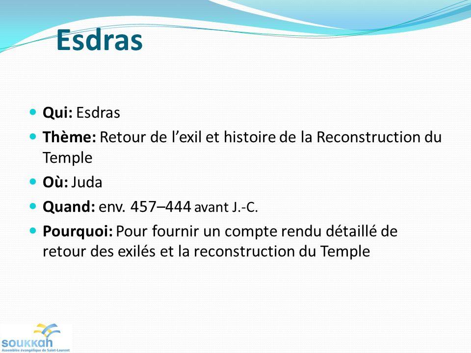 Esdras Qui: Esdras. Thème: Retour de l'exil et histoire de la Reconstruction du Temple. Où: Juda.