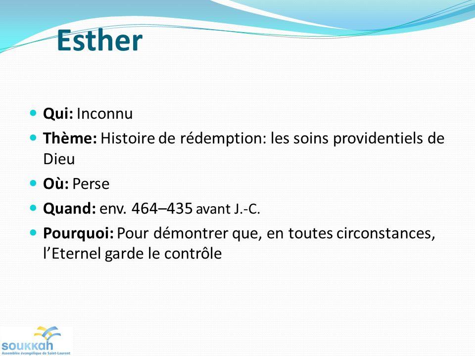 Esther Qui: Inconnu. Thème: Histoire de rédemption: les soins providentiels de Dieu. Où: Perse. Quand: env. 464–435 avant J.-C.