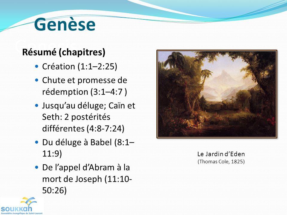 Genèse Genesis Résumé (chapitres) Création (1:1–2:25)