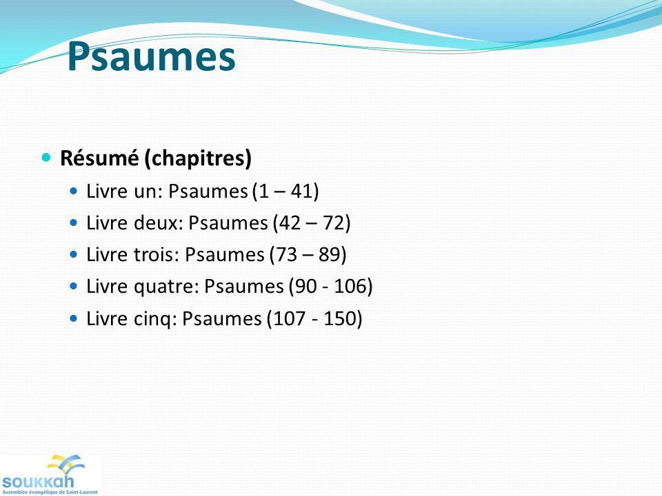 Psaumes Résumé (chapitres) Livre un: Psaumes (1 – 41)