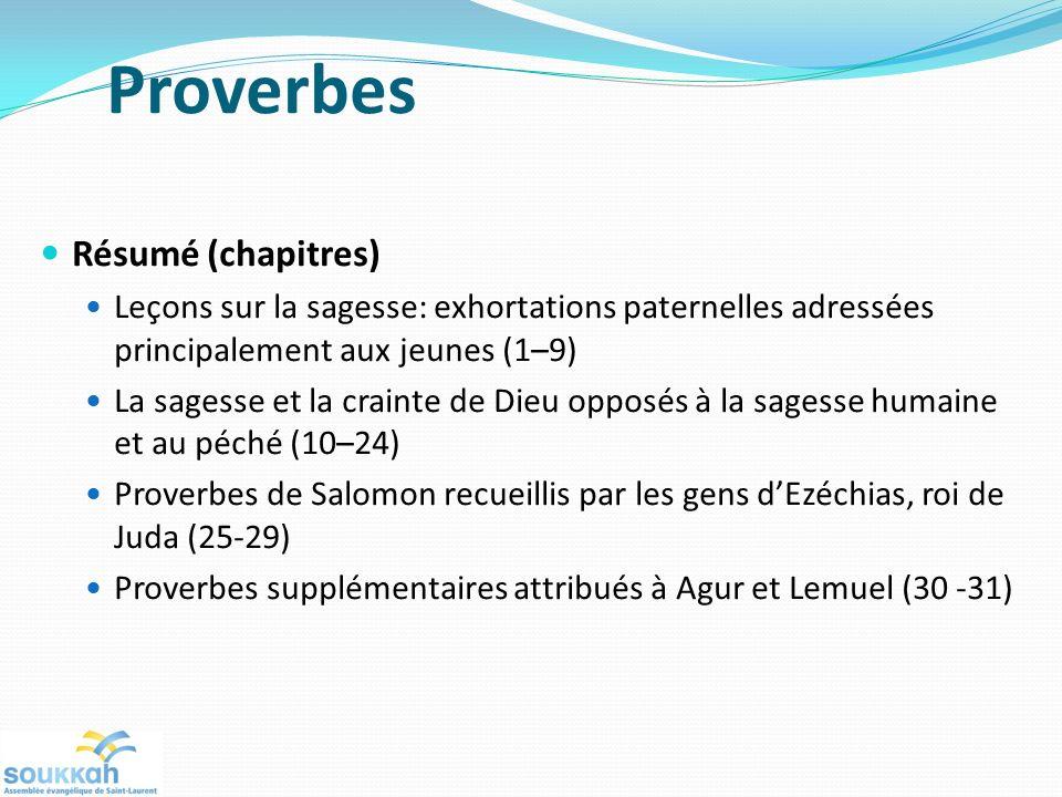 Proverbes Résumé (chapitres)