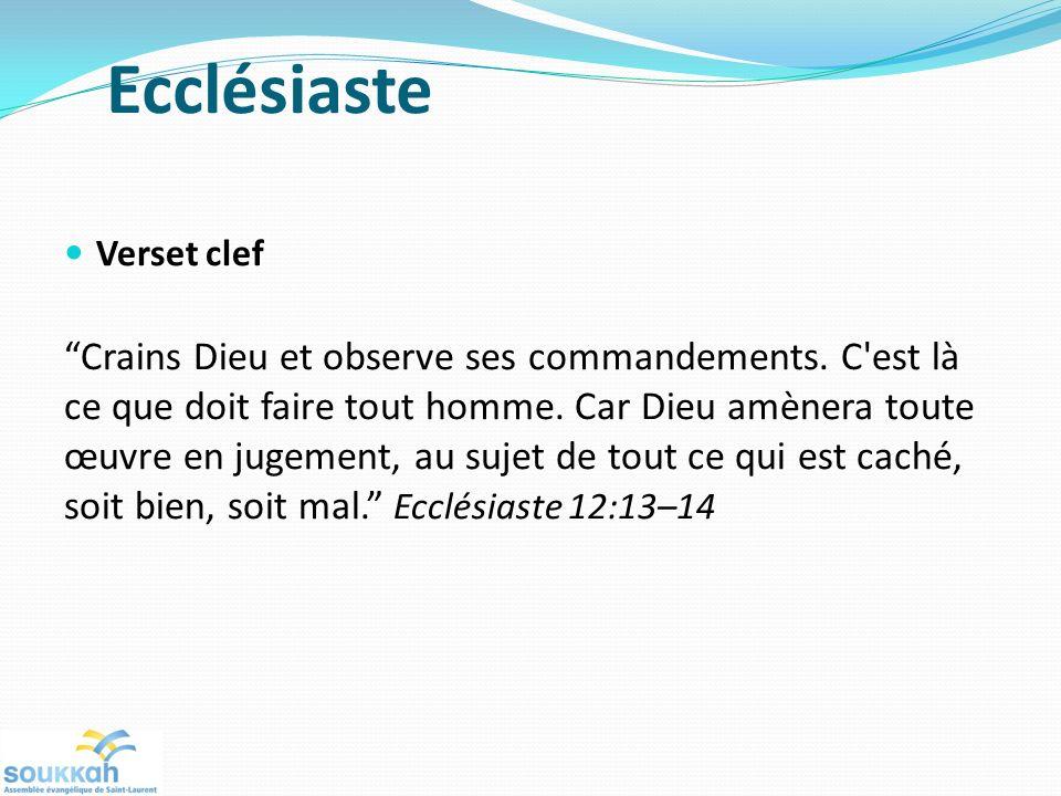 Ecclésiaste Verset clef