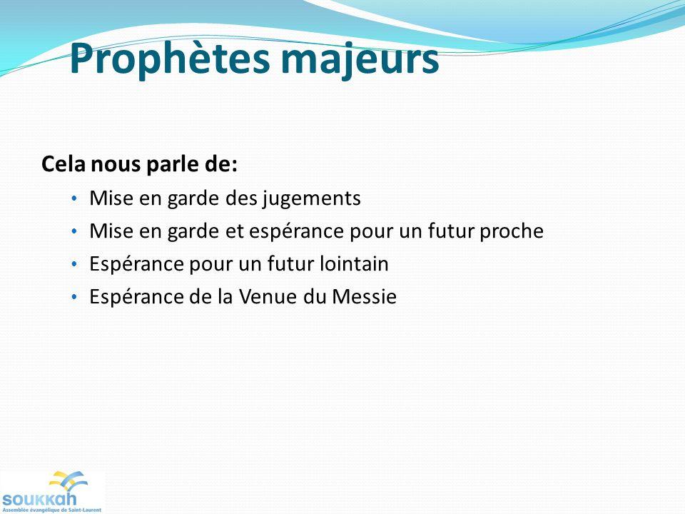Prophètes majeurs Cela nous parle de: Mise en garde des jugements