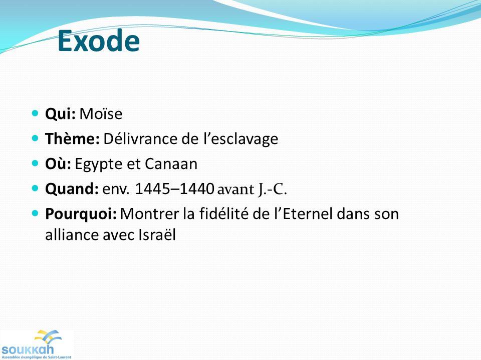 Exode Qui: Moïse Thème: Délivrance de l'esclavage Où: Egypte et Canaan