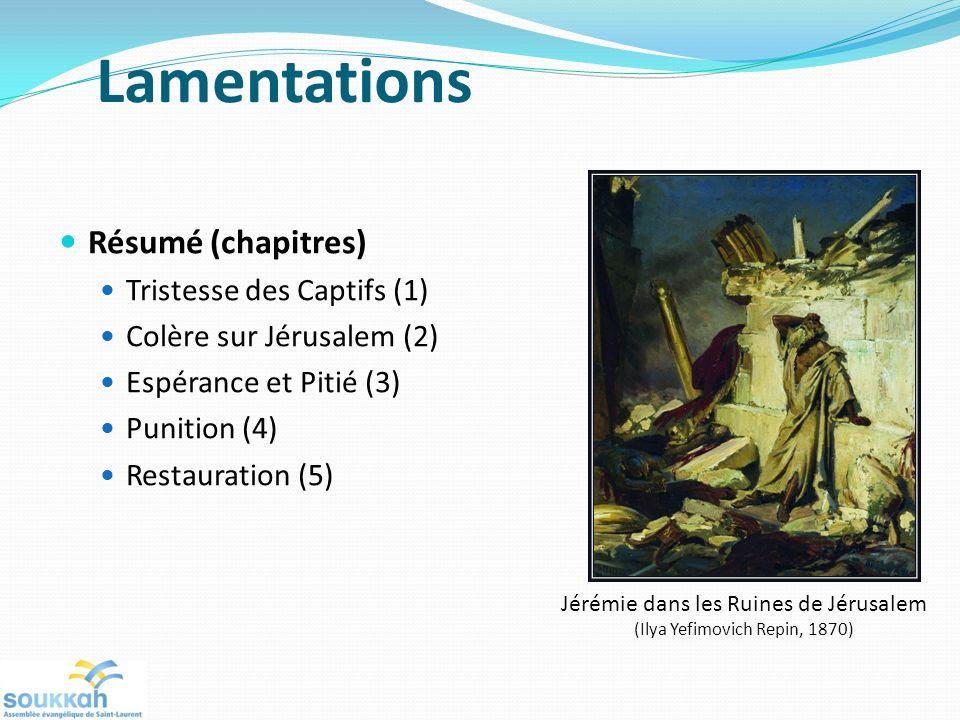 Lamentations Résumé (chapitres) Tristesse des Captifs (1)