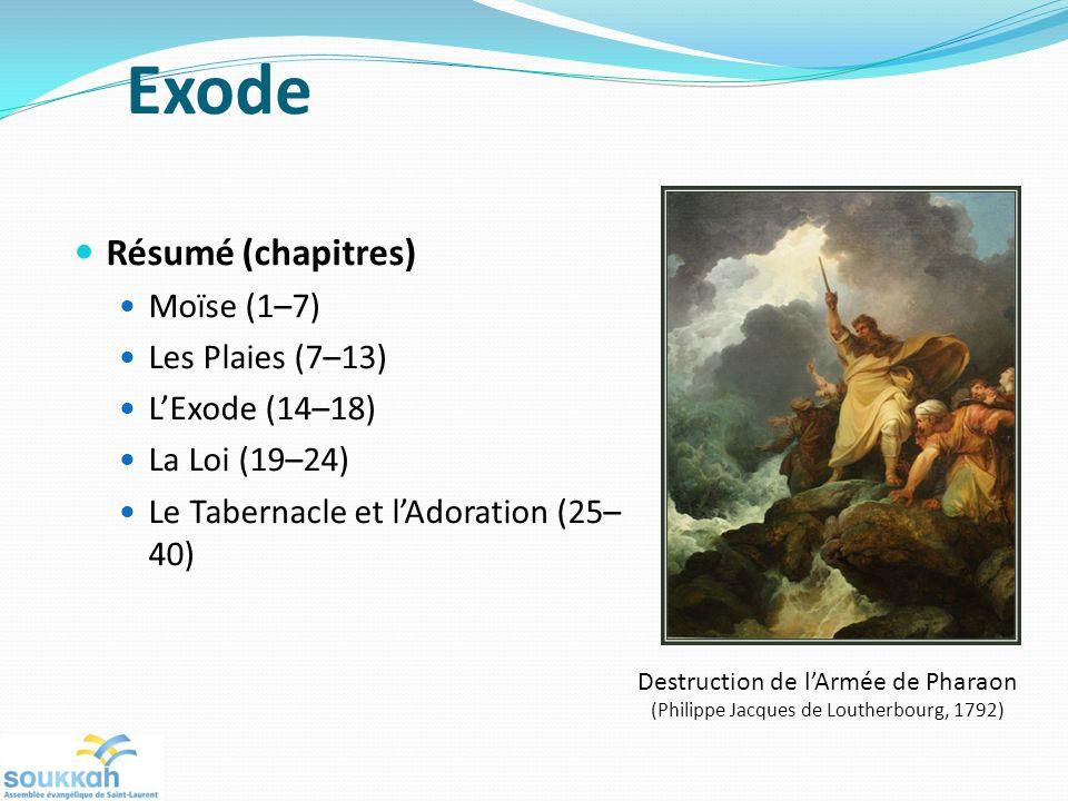 Exode Résumé (chapitres) Moïse (1–7) Les Plaies (7–13) L'Exode (14–18)