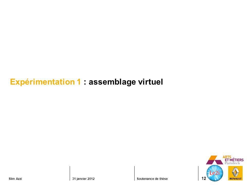 Expérimentation 1 : assemblage virtuel
