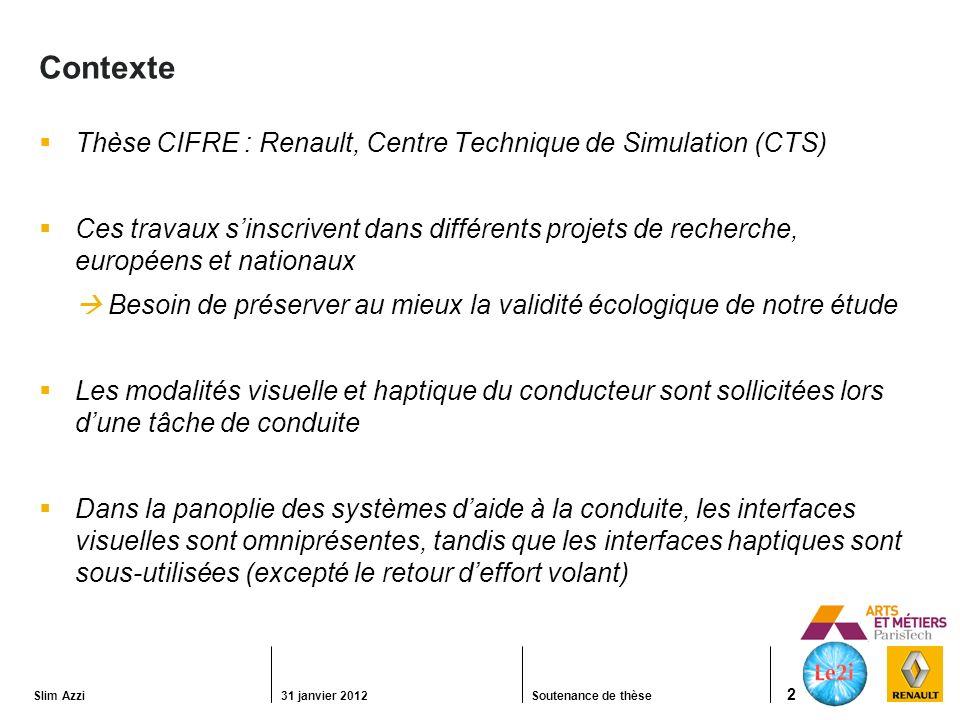Contexte Thèse CIFRE : Renault, Centre Technique de Simulation (CTS)