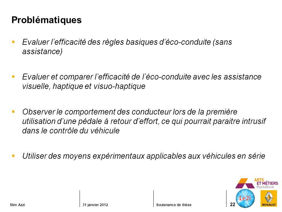 Problématiques Evaluer l'efficacité des règles basiques d'éco-conduite (sans assistance)