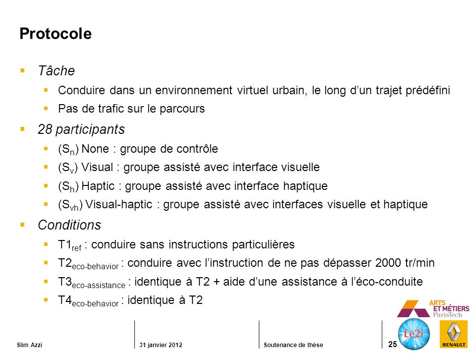 Protocole Tâche 28 participants Conditions