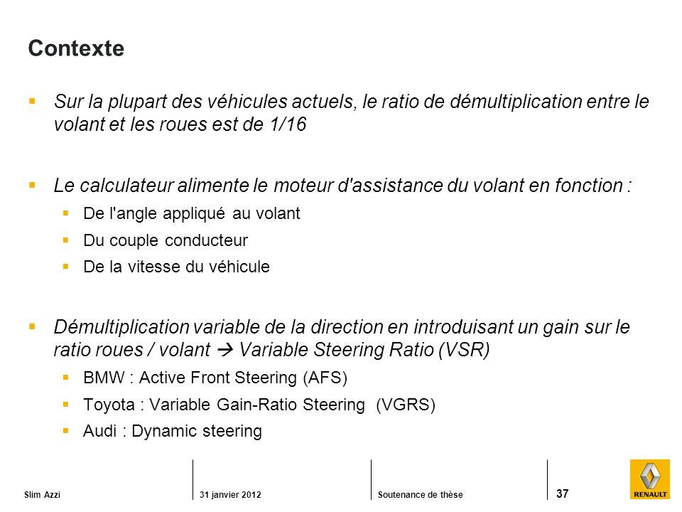 Contexte Sur la plupart des véhicules actuels, le ratio de démultiplication entre le volant et les roues est de 1/16.